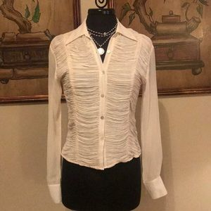 Elegant 100% Sill cream ruched blouse